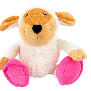 Koiran lelu pehmolammas pinkeillä töppösillä