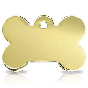Kaiverrettu koiran nimilaatta ISO luu, kullattu