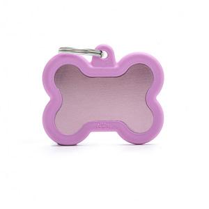 """Koiran nimilaatta kaiverruksella - Äänetön """"HUSHTAG"""" Alumiini iso luu, pinkki"""