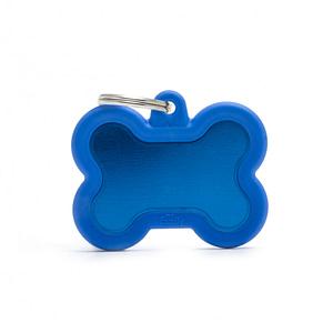 """Koiran nimilaatta kaiverruksella - Äänetön """"HUSHTAG"""" Alumiini iso luu, sininen"""