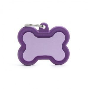 """Koiran nimilaatta kaiverruksella - Äänetön """"HUSHTAG"""" Alumiini iso luu, violetti"""