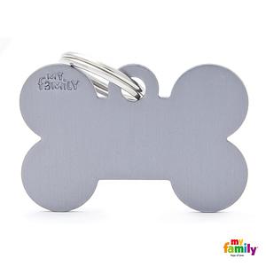 Koiran Nimilaatta kaiverruksella - EXTRA vahva Alumiini ISO luu, harmaa