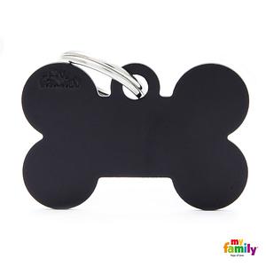Koiran Nimilaatta kaiverruksella - EXTRA vahva Alumiini ISO luu, musta