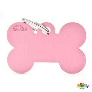 Koiran Nimilaatta kaiverruksella - EXTRA vahva Alumiini ISO luu, pinkki