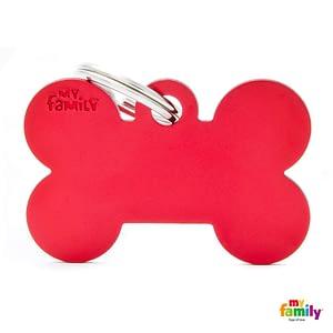 Koiran Nimilaatta kaiverruksella - EXTRA vahva Alumiini ISO luu, punainen
