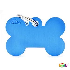 Koiran Nimilaatta kaiverruksella - EXTRA vahva Alumiini ISO luu, sininen
