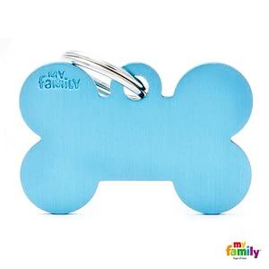 Koiran Nimilaatta kaiverruksella - EXTRA vahva Alumiini ISO luu, vaaleansininen