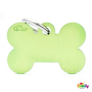 Koiran Nimilaatta kaiverruksella - EXTRA vahva Alumiini ISO luu, vihreä