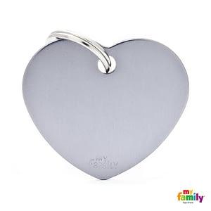 Koiran Nimilaatta kaiverruksella - EXTRA vahva Alumiini ISO sydän, harmaa