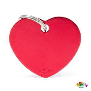 Koiran Nimilaatta kaiverruksella - EXTRA vahva Alumiini ISO sydän, punainen