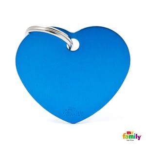 Koiran Nimilaatta kaiverruksella - EXTRA vahva Alumiini ISO sydän, sininen
