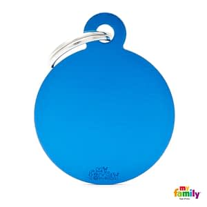 Koiran Nimilaatta kaiverruksella - EXTRA vahva Alumiini ISO ympyrä, sininen