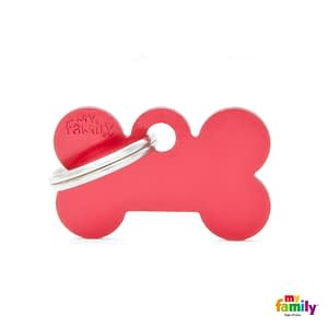 Koiran Nimilaatta kaiverruksella - EXTRA vahva Alumiini pieni luu, punainen
