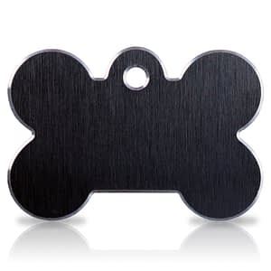 Koiran nimilaatta kaiverruksella - Hi-line Alumiini ISO luu, musta