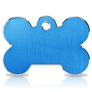 Koiran nimilaatta kaiverruksella - Hi-line Alumiini ISO luu, sininen