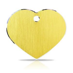 Koiran nimilaatta kaiverruksella - Hi-line Alumiini ISO sydän, kulta