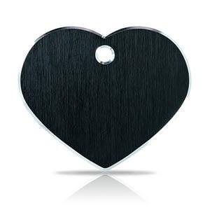 Koiran nimilaatta kaiverruksella - Hi-line Alumiini ISO sydän, musta