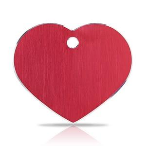 Koiran nimilaatta kaiverruksella - Hi-line Alumiini ISO sydän, punainen