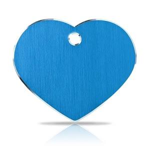 Koiran nimilaatta kaiverruksella - Hi-line Alumiini ISO sydän, sininen