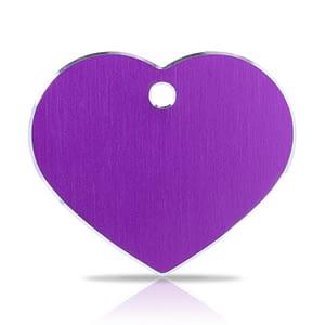 Koiran nimilaatta kaiverruksella - Hi-line Alumiini ISO sydän, violetti