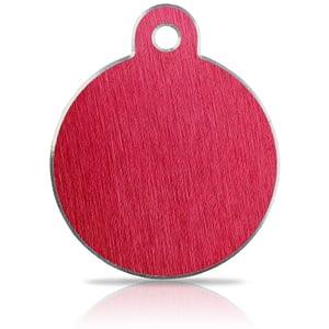 Koiran nimilaatta kaiverruksella - Hi-line Alumiini ISO ympyrä, punainen