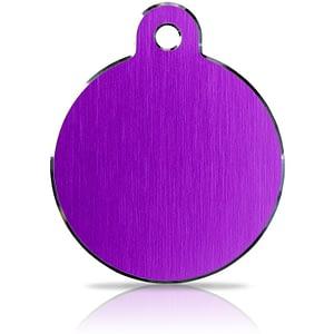 Koiran nimilaatta kaiverruksella - Hi-line Alumiini ISO ympyrä, violetti