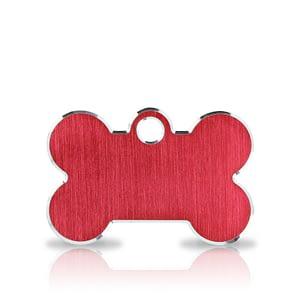 Koiran nimilaatta kaiverruksella - Hi-line Alumiini pieni luu, punainen