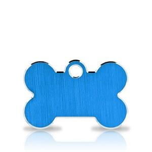 Koiran nimilaatta kaiverruksella - Hi-line Alumiini pieni luu, sininen