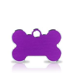 Koiran nimilaatta kaiverruksella - Hi-line Alumiini pieni luu, violetti