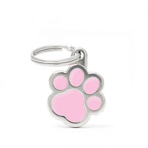Kaiverrettu koiran nimilaatta - CLASSIC pieni tassu, pinkki