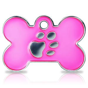 Kaiverrettu koiran nimilaatta fashion-tassu ISO luu hopeoitu, pinkki