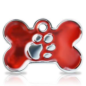 Kaiverrettu koiran nimilaatta fashion-tassu ISO luu hopeoitu, punainen