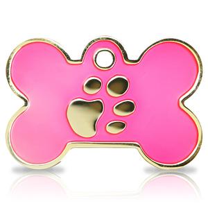 Kaiverrettu koiran nimilaatta Fashion-tassu ISO luu kullattu, pinkki