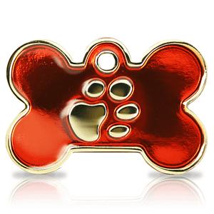 Kaiverrettu koiran nimilaatta Fashion-tassu ISO luu kullattu, punainen