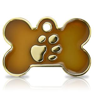 Kaiverrettu koiran nimilaatta Fashion-tassu ISO luu kullattu, ruskea