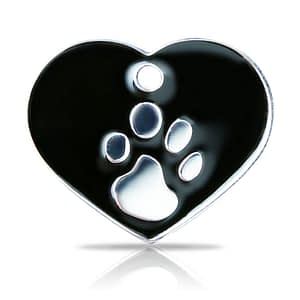 Kaiverrettu koiran nimilaatta fashion-tassu ISO sydän hopeoitu, musta