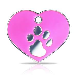 Kaiverrettu koiran nimilaatta fashion-tassu ISO sydän hopeoitu, pinkki