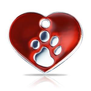 Kaiverrettu koiran nimilaatta fashion-tassu ISO sydän hopeoitu, punainen