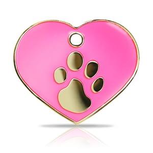 Kaiverrettu koiran nimilaatta Fashion-tassu ISO sydän kullattu, pinkki