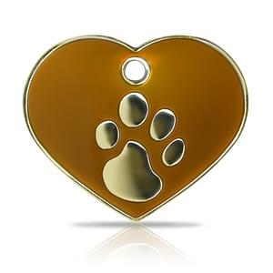 Kaiverrettu koiran nimilaatta Fashion-tassu ISO sydän kullattu, ruskea