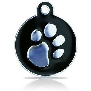 Kaiverrettu koiran nimilaatta fashion-tassu ISO ympyrä hopeoitu, musta