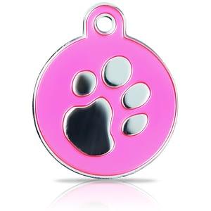 Kaiverrettu koiran nimilaatta fashion-tassu ISO ympyrä hopeoitu, pinkki