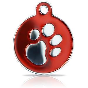 Kaiverrettu koiran nimilaatta fashion-tassu ISO ympyrä hopeoitu, punainen