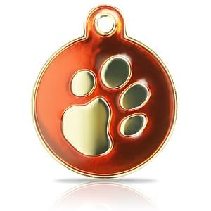 Kaiverrettu koiran nimilaatta Fashion-tassu ISO ympyrä kullattu, punainen
