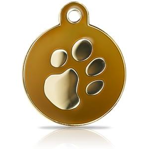 Kaiverrettu koiran nimilaatta Fashion-tassu ISO ympyrä kullattu, ruskea