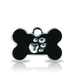 Kaiverrettu koiran nimilaatta fashion-tassu pieni luu hopeoitu, musta