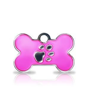 Kaiverrettu koiran nimilaatta fashion-tassu pieni luu hopeoitu, pinkki