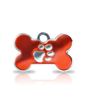 Kaiverrettu koiran nimilaatta fashion-tassu pieni luu hopeoitu, punainen