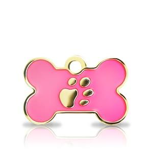 Kaiverrettu koiran nimilaatta Fashion-tassu pieni luu kullattu, pinkki