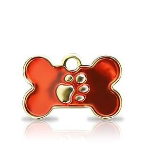 Kaiverrettu koiran nimilaatta Fashion-tassu pieni luu kullattu, punainen